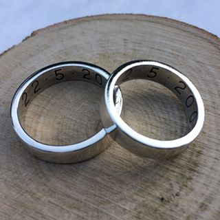 christian wedding rings with names engraved