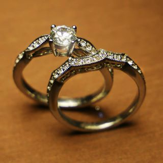 9ct gold diamond set wedding rings